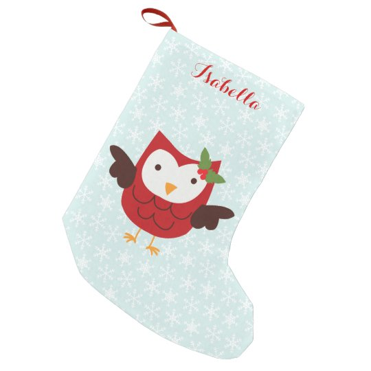 Red Holiday Owl Personalised Small Christmas Stocking