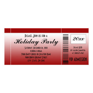 Red Holiday Party Ticket Invitation