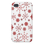 Red Holidays Snowflakes Covers For iPhone 4
