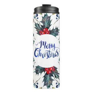 Red Holly Berries- Merry Christmas Thermal Tumbler