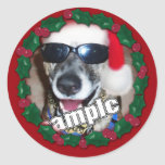 Red Holly Frame for your Christmas Photo! Round Stickers