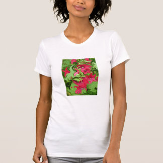 Red Hollyhock Flower Pattern - T-Shirt