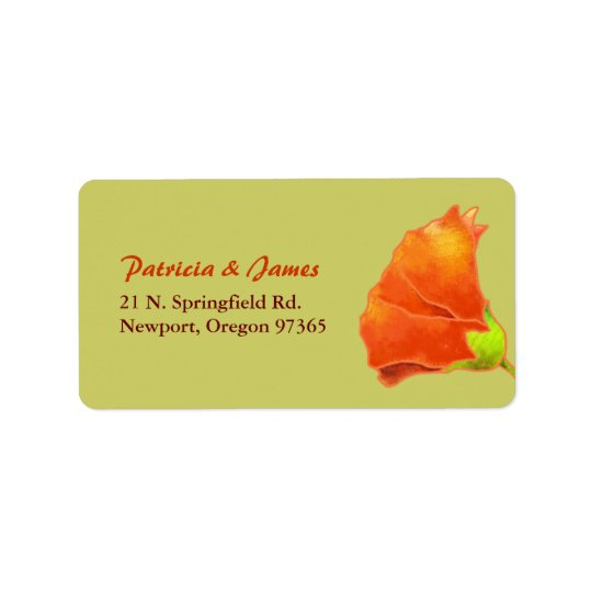 Red Hollyhock Simple Wedding Address Address Label