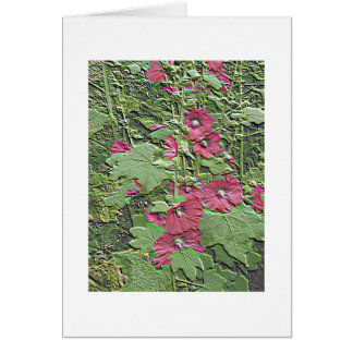 Red Hollyhocks in Relief - a Notecard