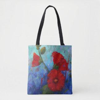 Red Hollyhocks Tote Bag