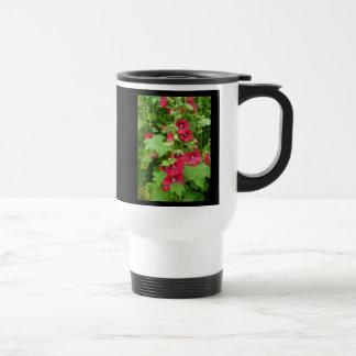 Red Hollyhocks - Travel Mug