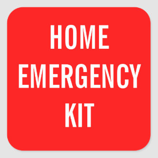 Red Home Emergency Kit Label