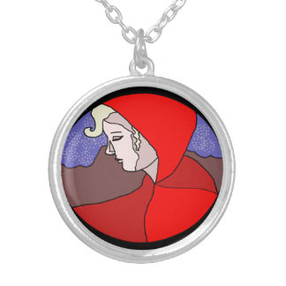 Red Hood Woman Drawing Necklace