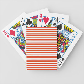 Red Horizontal Pinstripe Bicycle Playing Cards