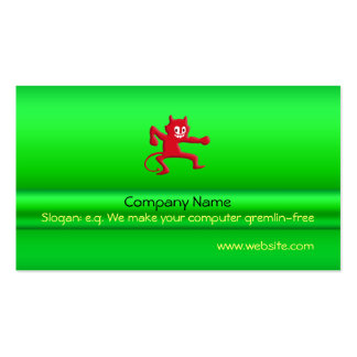 Red Horned Grinning Devil Imp, green metallic-look Pack Of Standard Business Cards