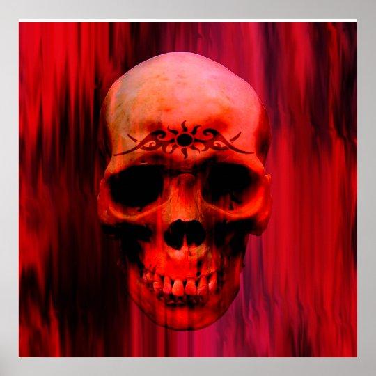 Red Horror Skull Poster