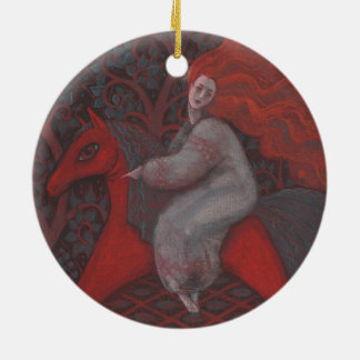 """Red Horse"", ginger woman, folk art, earth shades Round Ceramic Decoration"