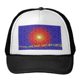 red hot, abstract design cap