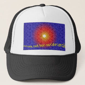 red hot, abstract design trucker hat