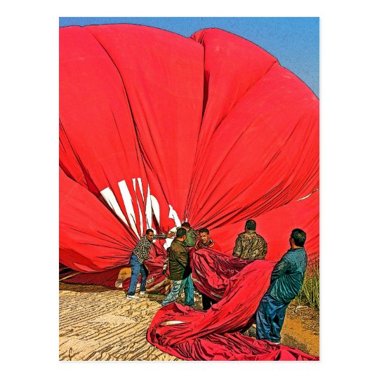 Red Hot Air Balloon - Gathering and Packing (4) Postcard