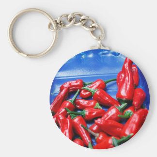 Red hot and blue: chilli peppers basic round button key ring