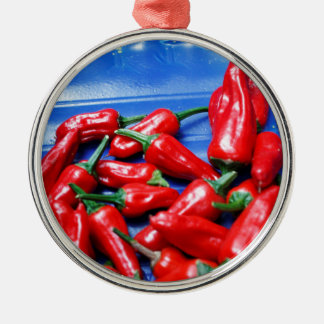 Red hot and blue: chilli peppers christmas ornament