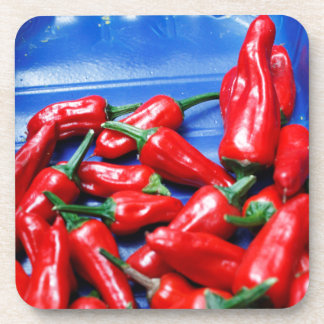 Red hot and blue: chilli peppers coaster