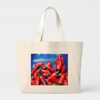 Red hot and blue: chilli peppers large tote bag