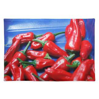 Red hot and blue: chilli peppers placemat