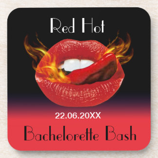 Red Hot Bachelorette Bash Beverage Coasters