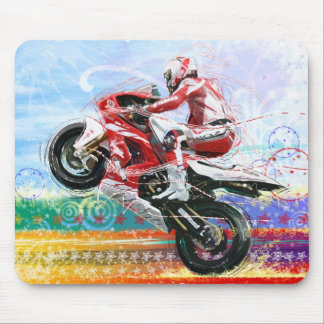RED HOT BIKER MOUSE MAT