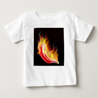 Red Hot Chilli Pepper on Fire Baby T-Shirt