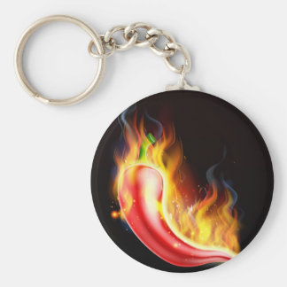 Red Hot Chilli Pepper on Fire Basic Round Button Key Ring