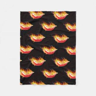 Red Hot Chilli Pepper on Fire Fleece Blanket