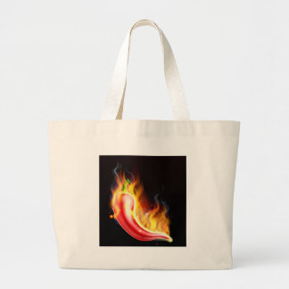Red Hot Chilli Pepper on Fire Large Tote Bag