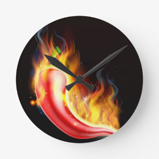 Red Hot Chilli Pepper on Fire Round Clock