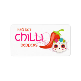 Red Hot Chilli Sauce Pepper Skull Label