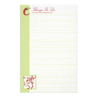 Red Hot Chillies green To Do lined List Stationery