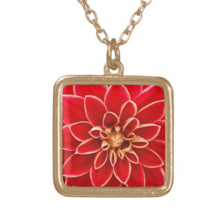 Red Hot Dahlia blossom Gold Plated Necklace