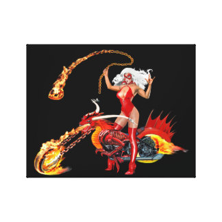 Red Hot Dragon Biker Babe Canvas Print
