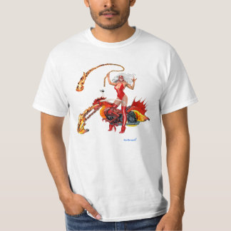 Red Hot Dragon Biker Babe Tshirts