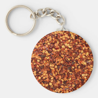 Red hot dried chilli flakes basic round button key ring