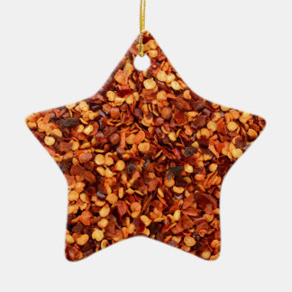 Red hot dried chilli flakes ceramic star decoration