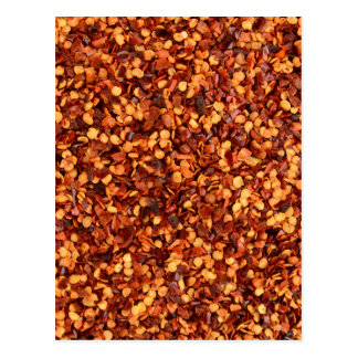 Red hot dried chilli flakes postcard