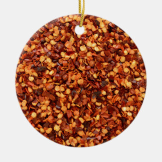 Red hot dried chilli flakes round ceramic decoration