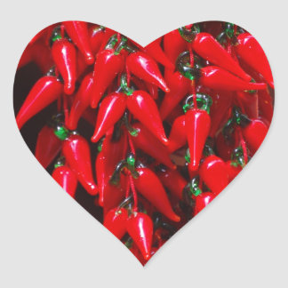 Red Hot Hanging Chili Peppers Image Design Heart Sticker
