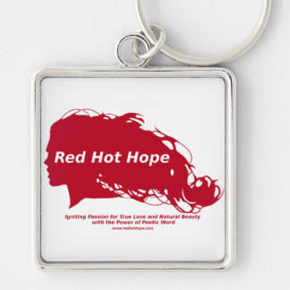 Red Hot Hope Brand Silver-Colored Square Key Ring