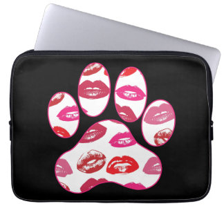 Red Hot Lips Dog Paw Print Laptop Sleeve