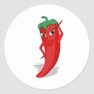 Red Hot Pepper Diva Classic Round Sticker