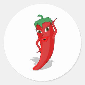 Red Hot Pepper Diva Round Sticker