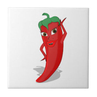 Red Hot Pepper Diva Small Square Tile