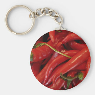 Red Hot Peppers Basic Round Button Key Ring