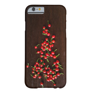 Red hot peppers on dark wood barely there iPhone 6 case