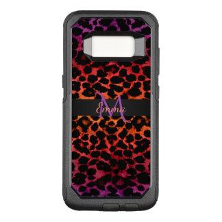 Red Hot Purple and Black Animal Monogram OtterBox Commuter Samsung Galaxy S8 Case