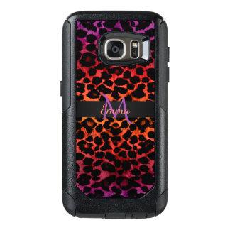 Red Hot Purple and Black Animal Print Monogram OtterBox Samsung Galaxy S7 Case